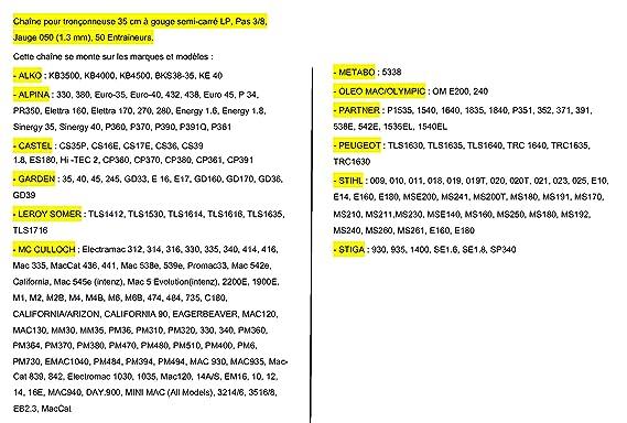 Pro 35 cm Cadena para motosierra 8 - 050- 3/2 mm -50 entraineurs=91 - 50E: Amazon.es: Jardín
