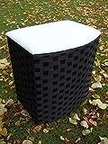 Asiento con cesto para ropa sucia de nailon, Blanco y Negro, Talla 2