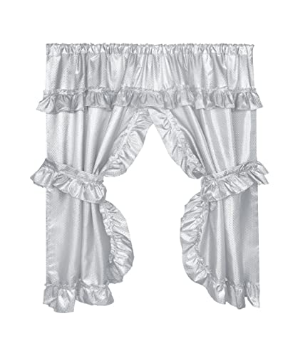 Carnation Home Fashions FWCD-L/03 Lauren Window Curtain with Ruffled Valance, Grey