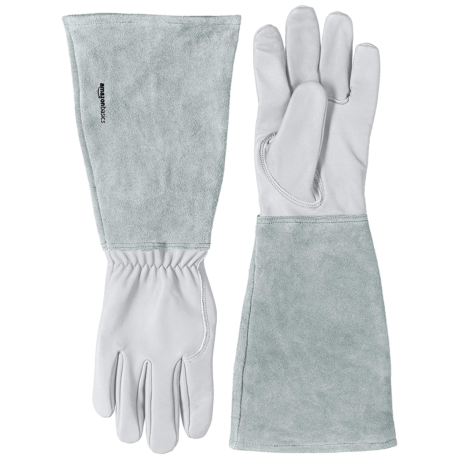 AmazonBasics Leather Gardening Gloves with Forearm Protection - Natural, XL
