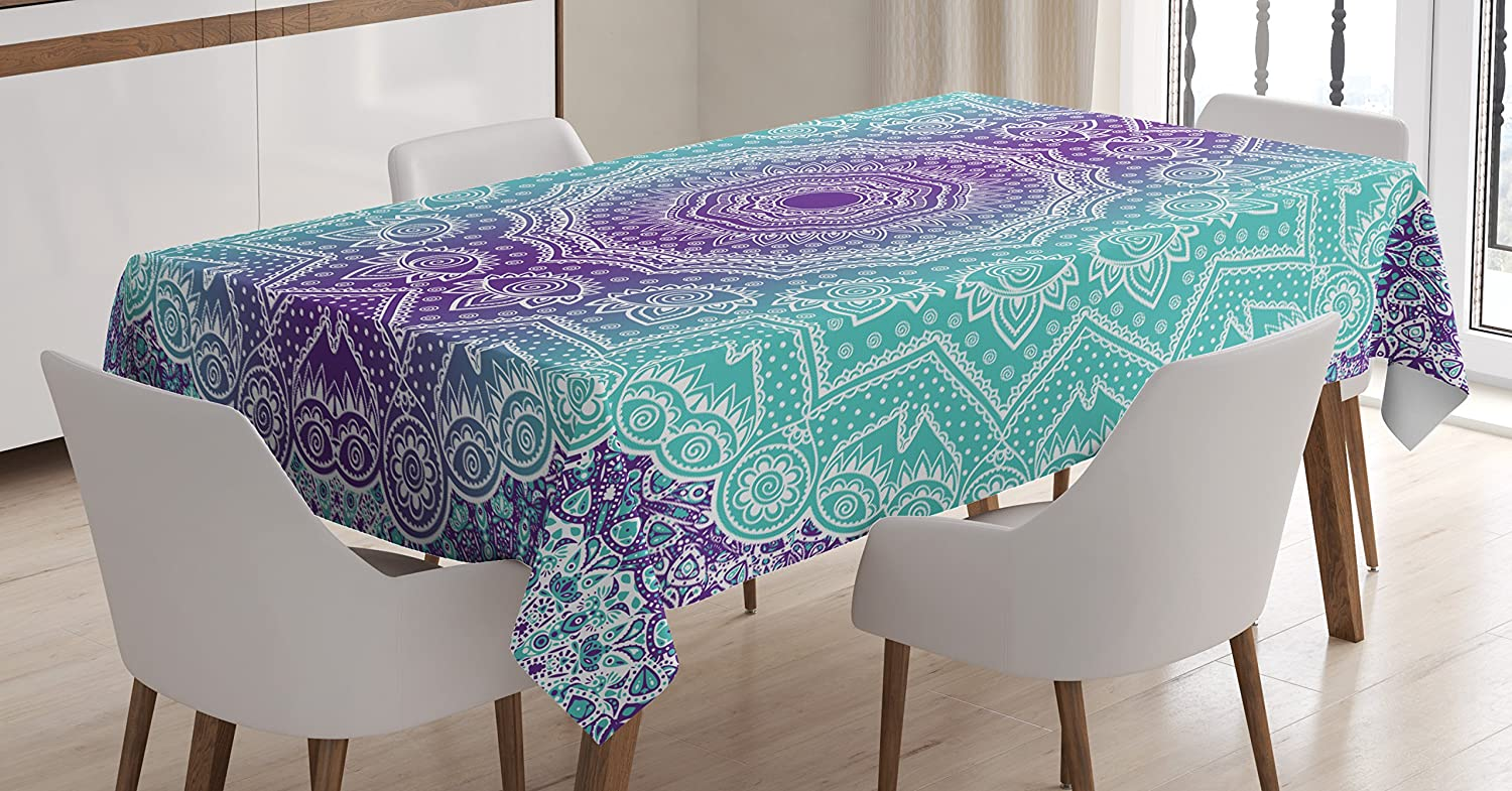 """Ambesonne Purple and Turquoise Tablecloth, Hippie Ombre Mandala Inner Peace and Meditation with Ornamental Art, Rectangular Table Cover for Dining Room Kitchen Decor, 60"""" X 90"""", Purple Aqua"""