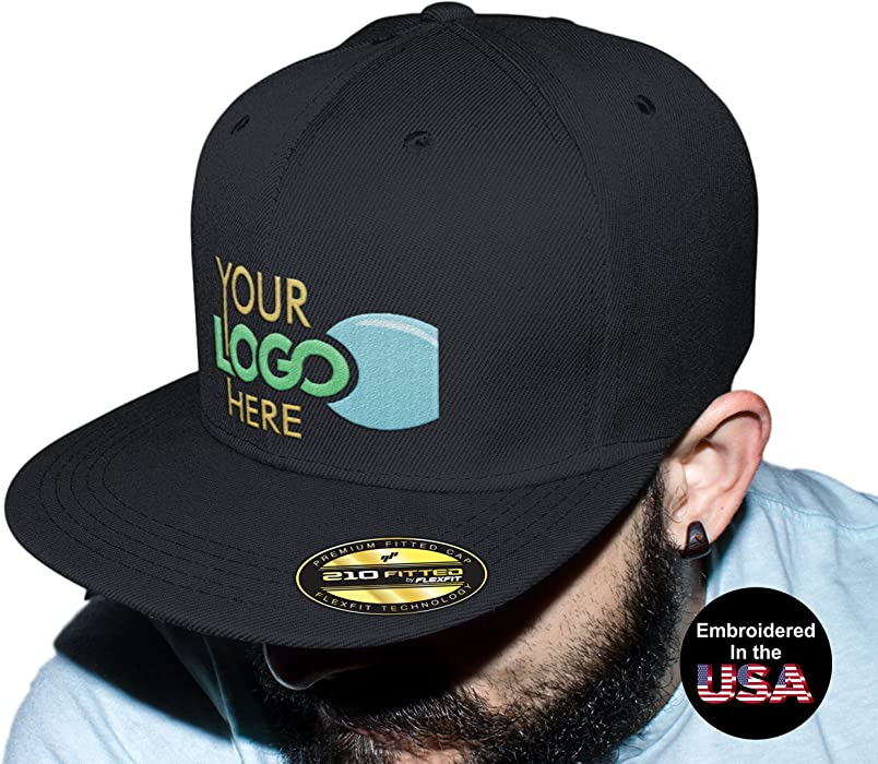 a04afd59b2f Personalized Flexfit 210 Cap. Custom Logo Hat. Embroidered. Fitted Flat  Bill (Black
