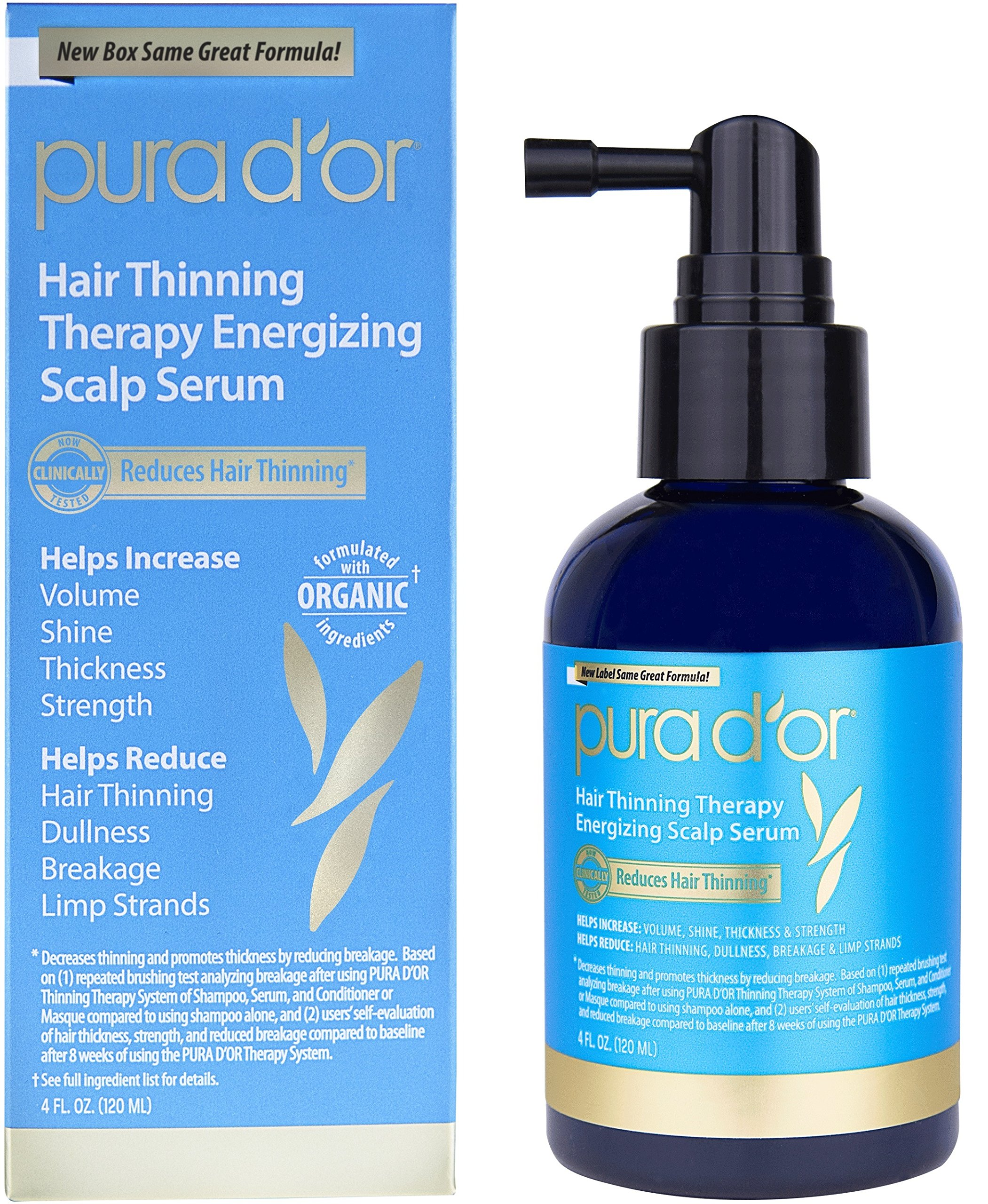 PURA D'OR Hair Thinning Therapy Energizing Scalp Serum Revitalizer, Infused with Organic Argan Oil, Biotin & Natural Ingredients, for All Hair Types, Men and Women, 4 Fl Oz (Packaging may vary)