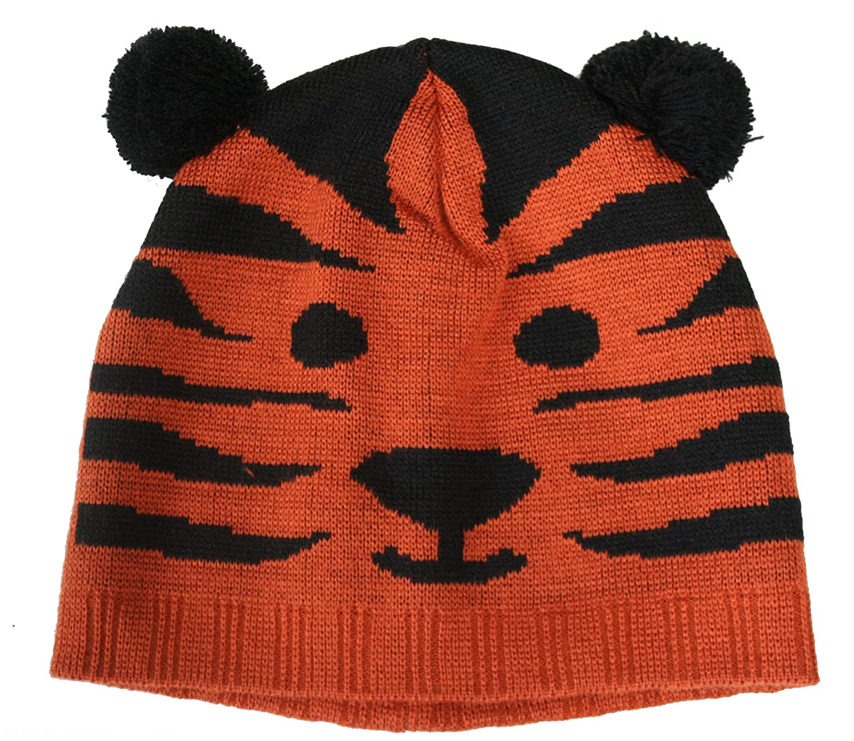 f3470b22084 Childs Black Brown Pom Pom Tiger Ski Hat by Jiglz C127  Amazon.co.uk   Clothing