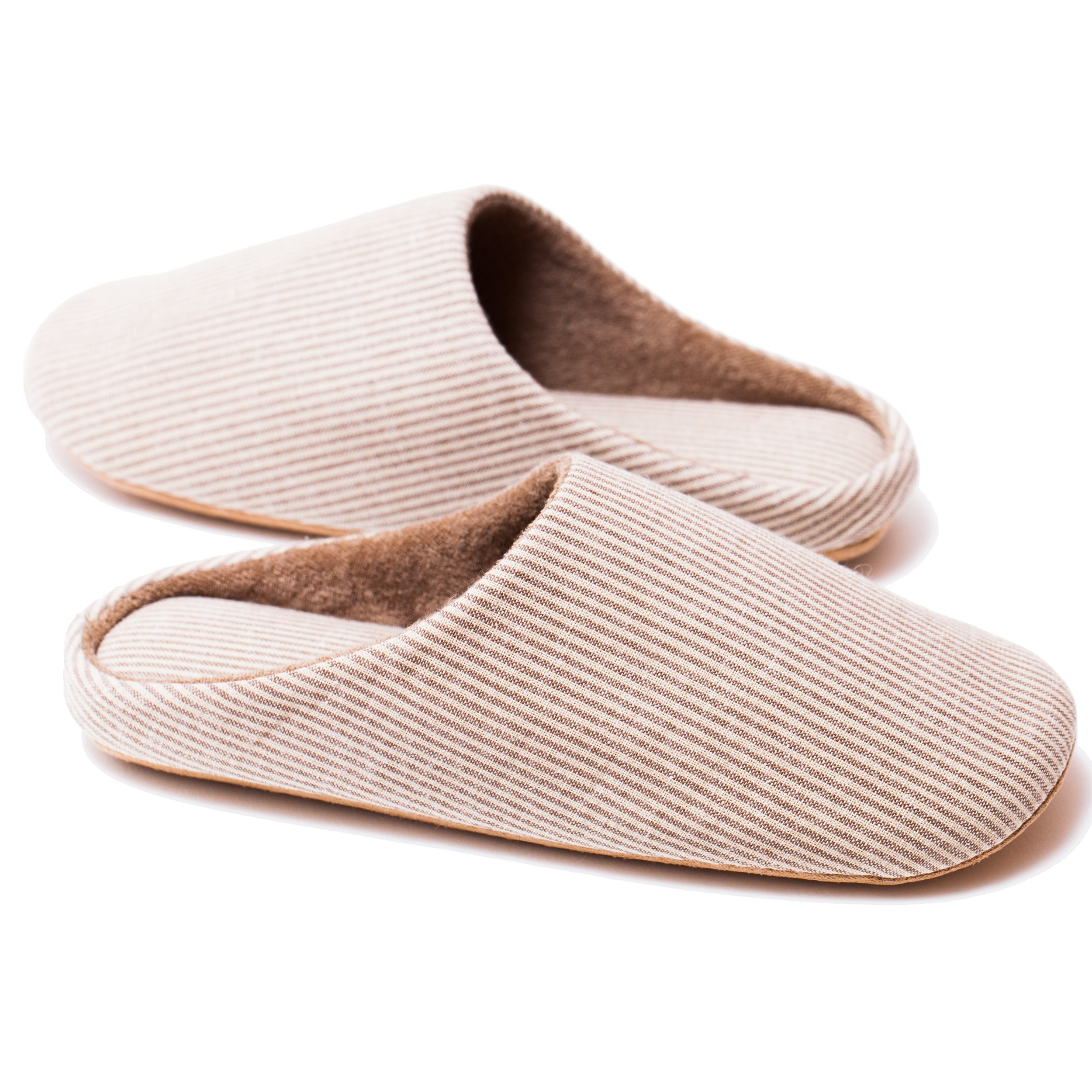 RelaxedFoot Slippers | Organic Cotton & Memory Foam | 1 Pair with Storage Bag (Large, Coffee)