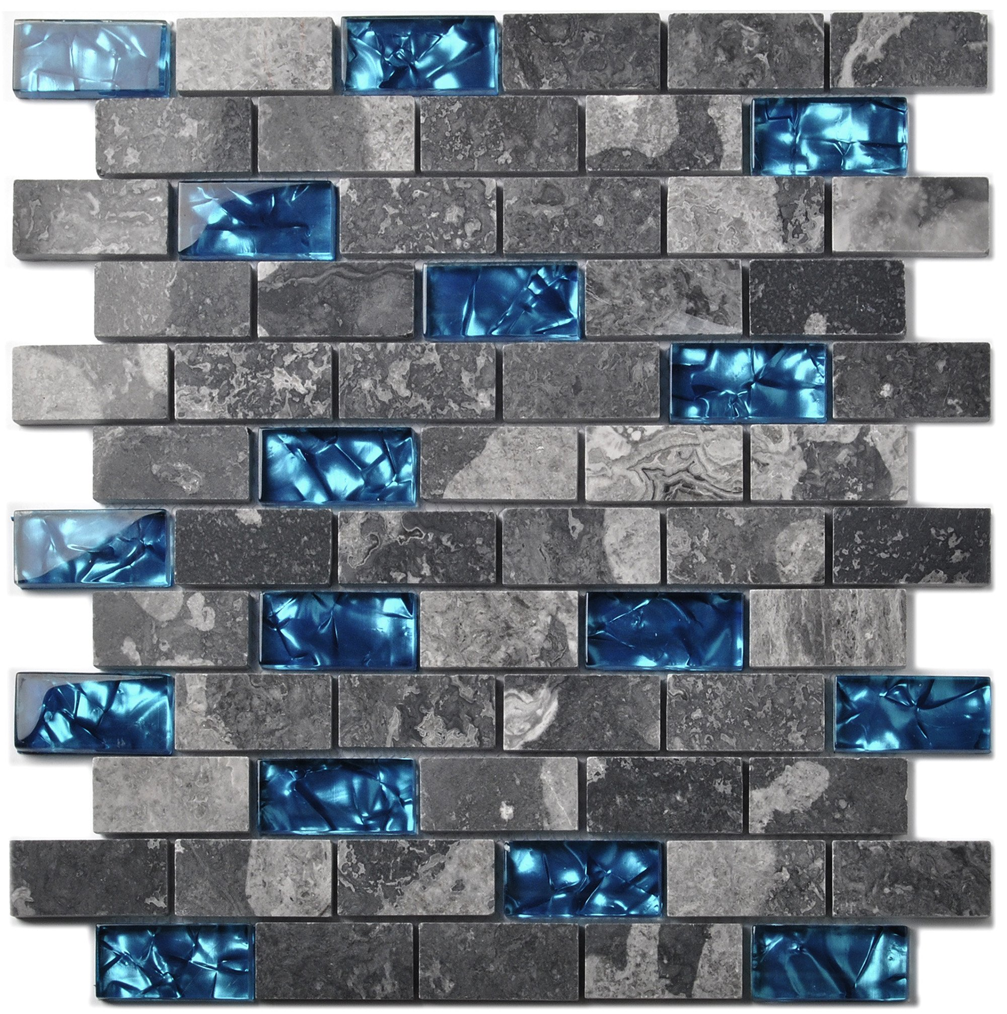 Ocean Blue Glass Nature Stone Tile Kitchen Backsplash 3D Bath Shower Accent Wall Decor Gray Wave Marble 1 x 2 Subway Art Mosaics TSTNB03 (11 PCS [11.8'' X 11.8''/each]) by TST MOSAIC TILES