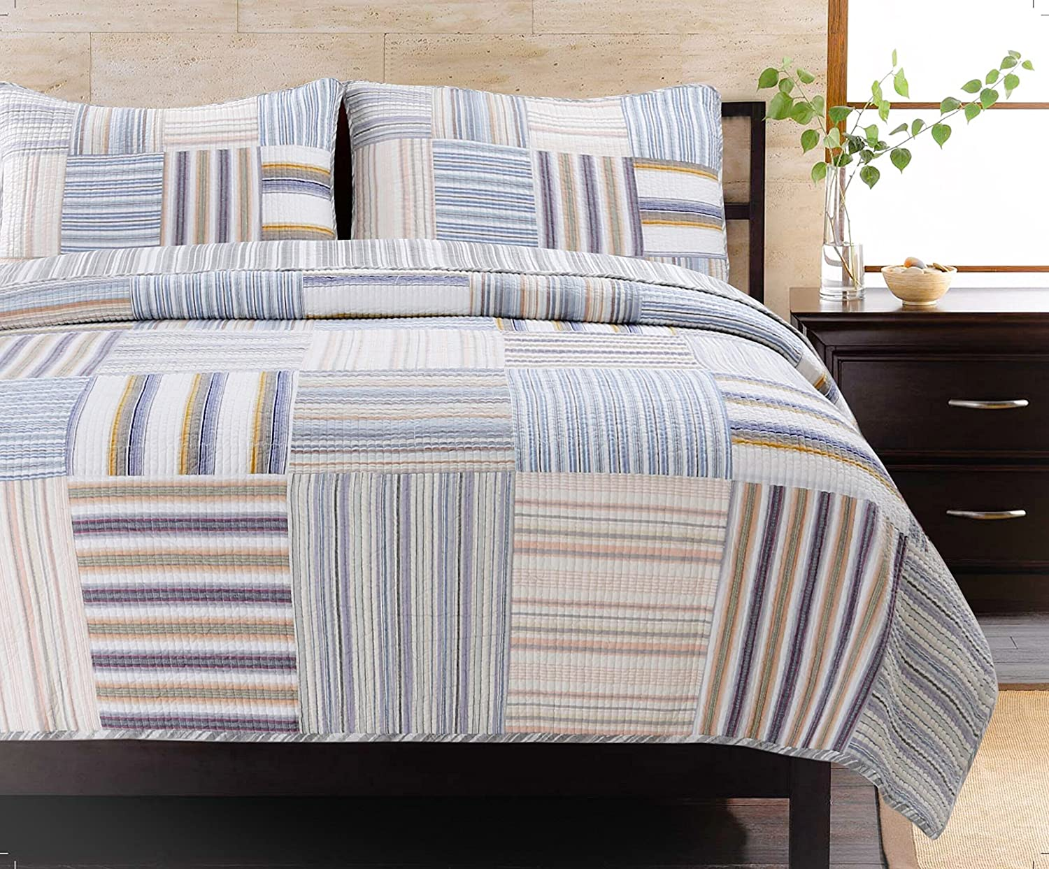 Cozy Line Home Fashions Kevin Quilt Bedding Set, Blue Yellow Grey Brown Plaid Striped Patchwork 100% Cotton, Reversible Coverlet, Bedspread for Boy/Men/Him(Kevin Patchwork, Queen -3 Piece)