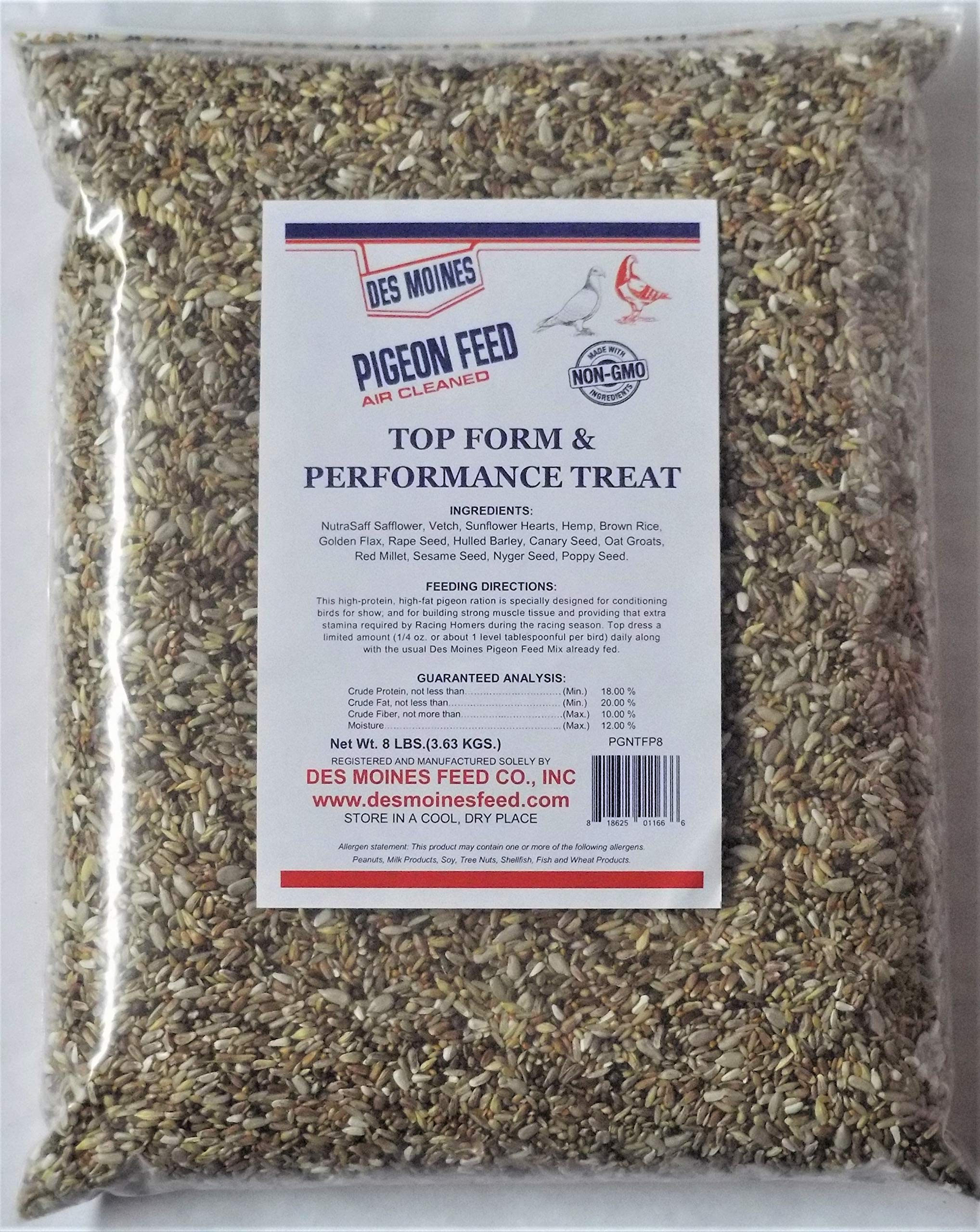 Top Form & Performance Pigeon Treat (18%) 8 lbs by Des Moines Pigeon Feed