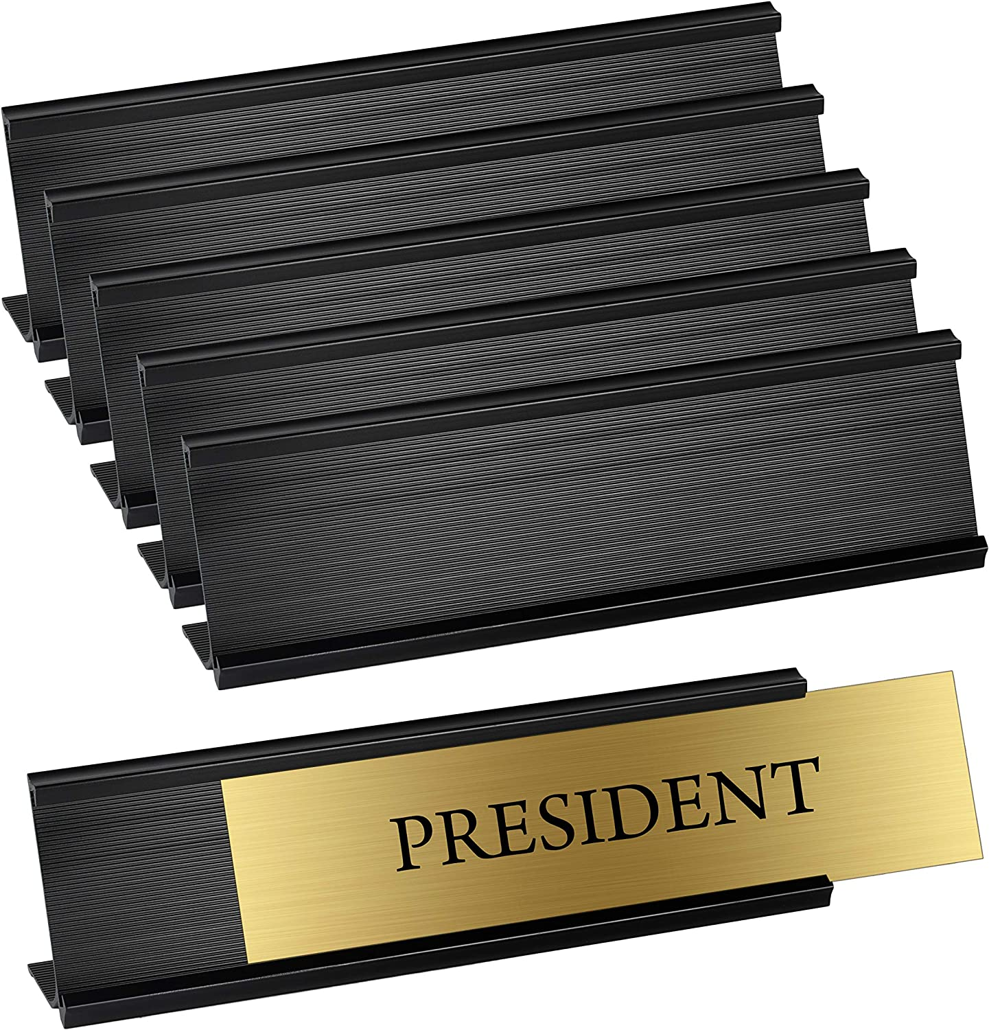 "Set of 6 – Sturdy and Elegant Black Aluminum Desk Name Plate Holder, Office Business Desk Sign Holder, 8"" X 2"" - Hardware and Inserts are Not Included"
