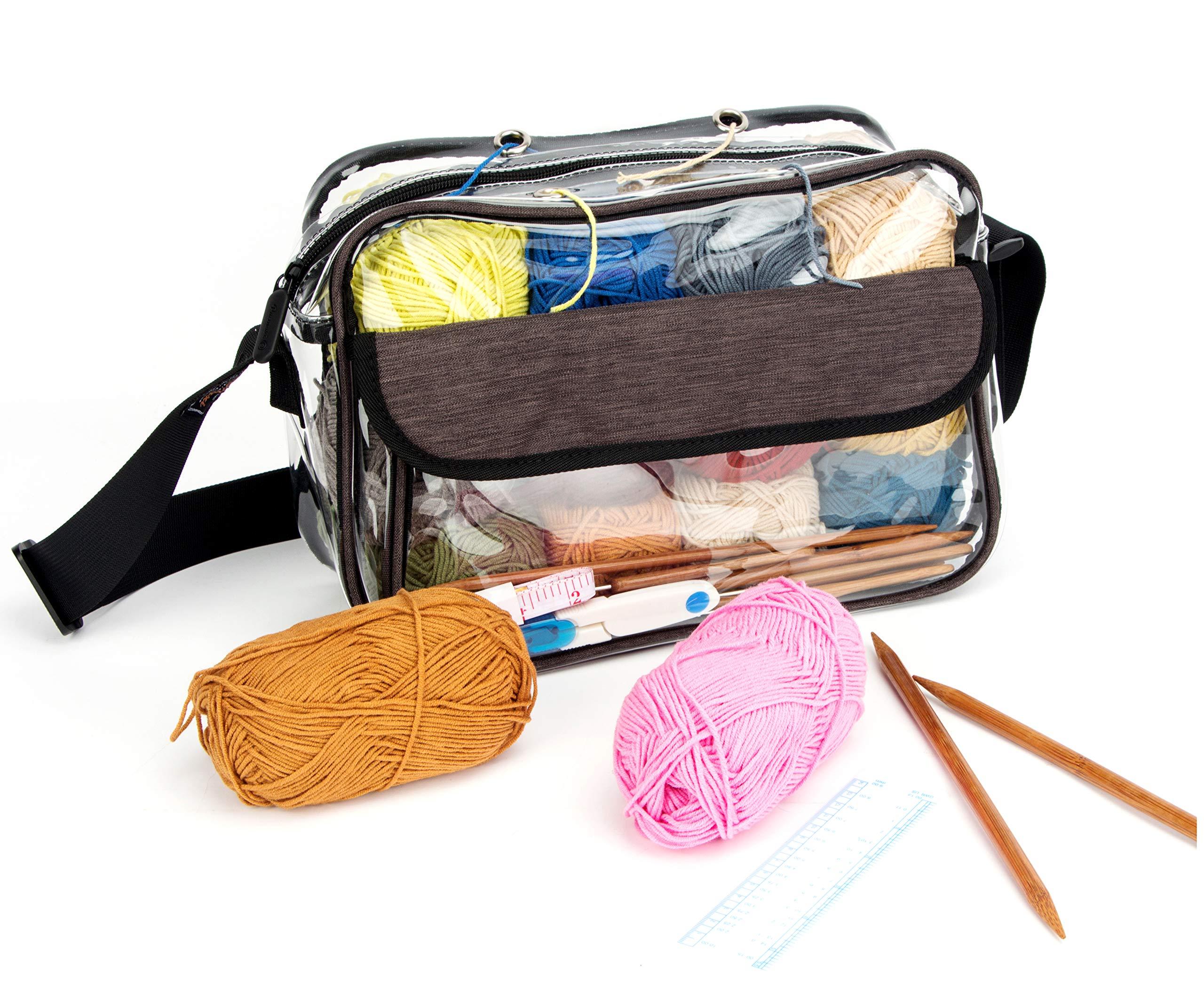 Yarn Storage Bag Knitting Bag - Clear Yarn Tote Organizer Crochet Bag for Yarn, Knitting Needles and Crochet Hooks (Medium)