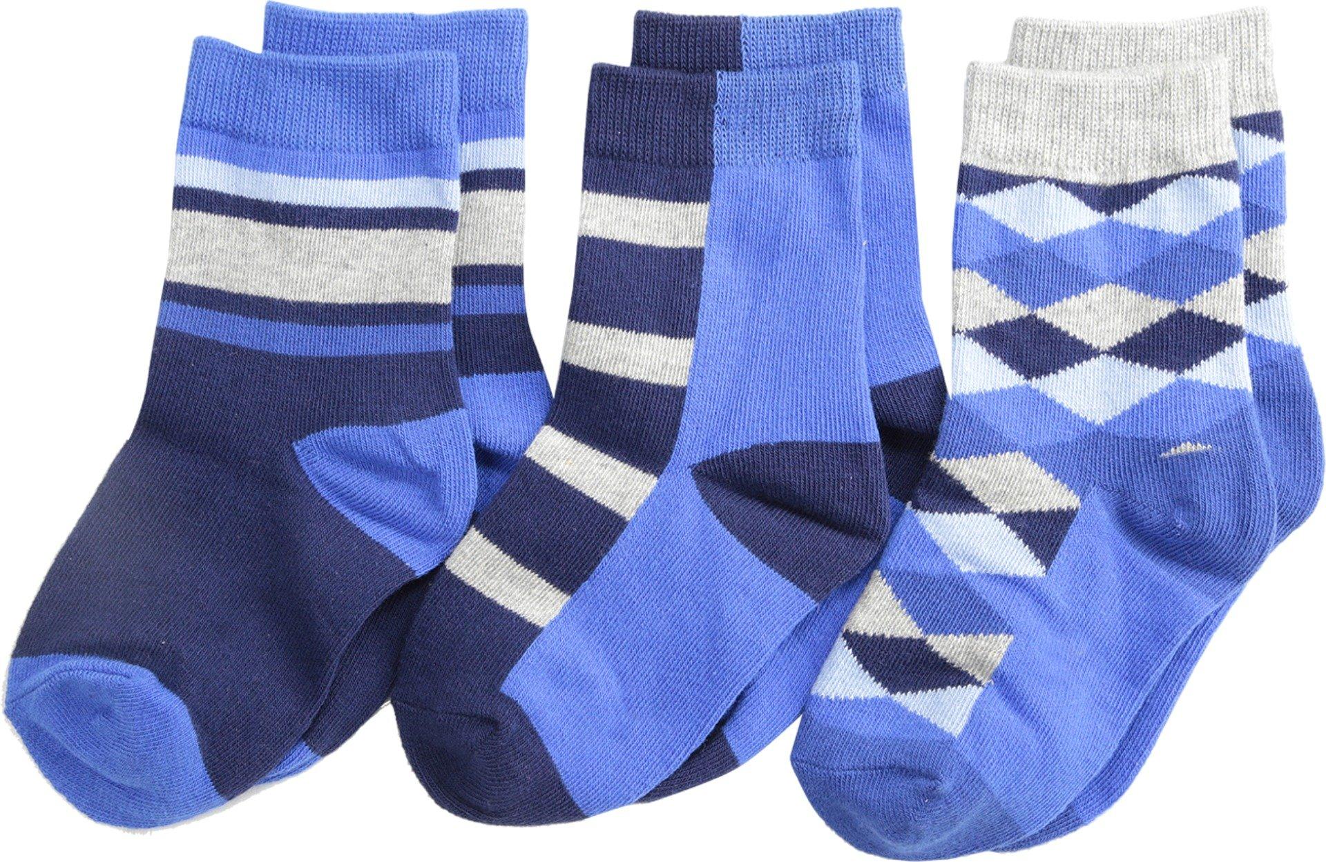 Jefferies Socks Baby Boy's Argyle Stripe Crew Socks 3 Pack (Toddler/Little Kid/Big Kid) Navy Sock