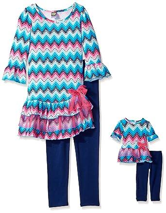 b704185a9900 Dollie & Me Big Girls' Chevron Drop Waist Tiered Tunic with Knit Leggings,  Blue