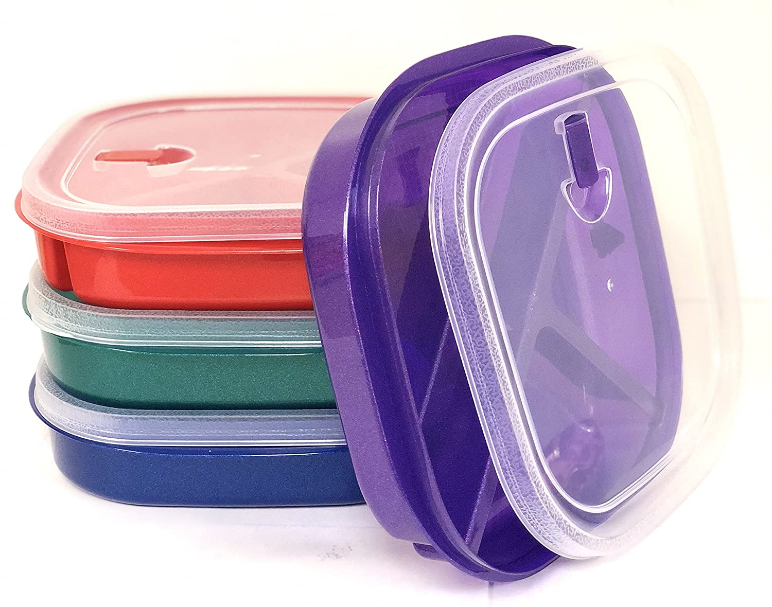 Vrinda (Set of 4) Microwave Food Storage Tray Container Square - 3 Section/Compartment Divided Plates w/Vented Lid