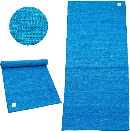 DoYourYoga Esterilla de Yoga de algodón »Rama« / 100% algodón / 195 cm x 69 cm/Disponible en una Gran Variedad de Vivos Colores/Azul Maldivas: Amazon.es: Deportes y aire libre