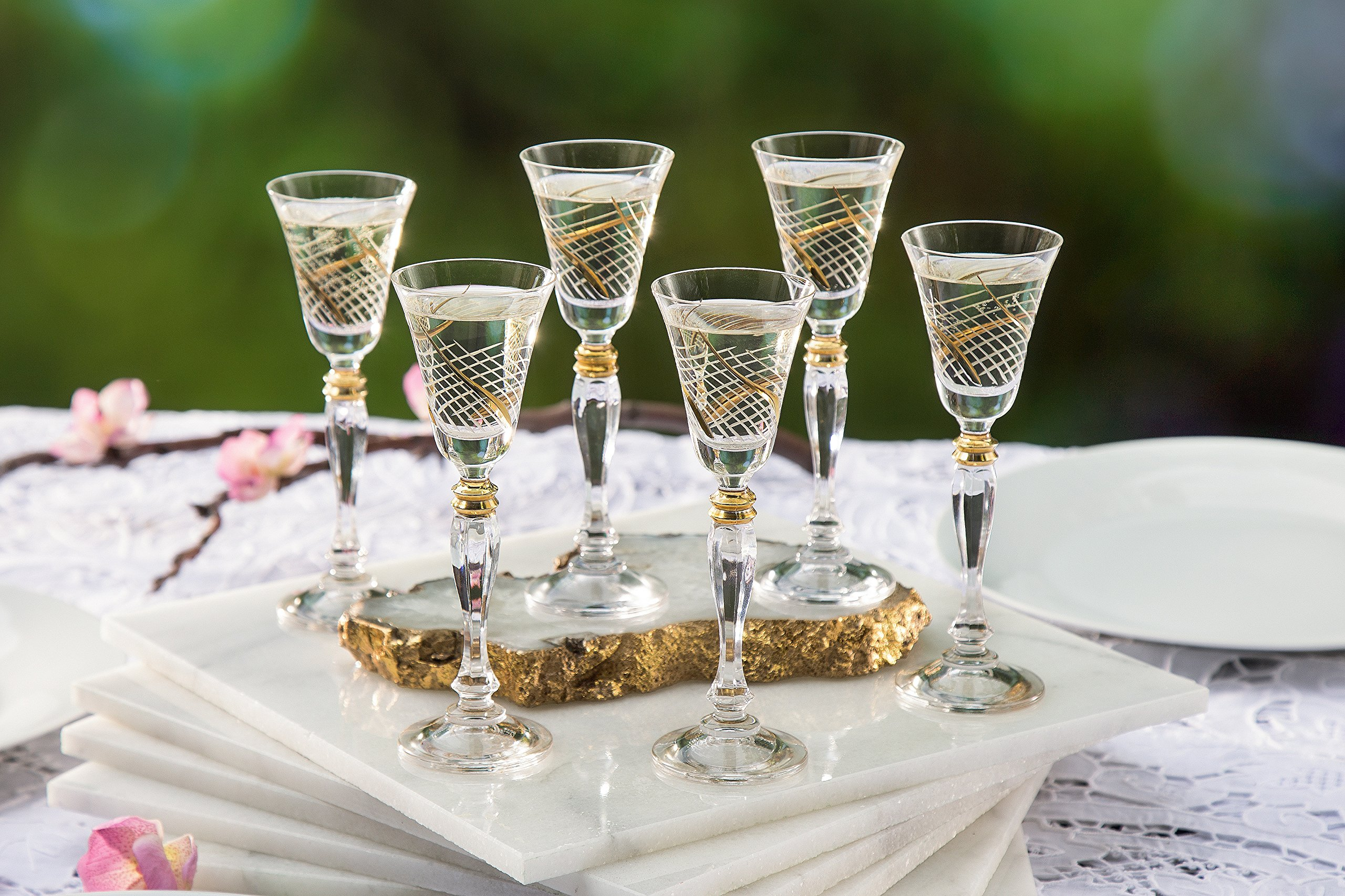 Glazze Crystal RMC-078-GL Set of 6 Handcrafted Bohemian-Crystal Cordial Liqueur Glasses with Real Gold Detailing…