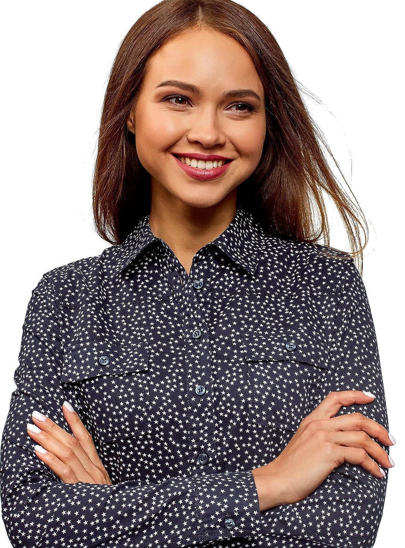 oodji Ultra Mujer Camisa Entallada con Bolsillos en el Pecho