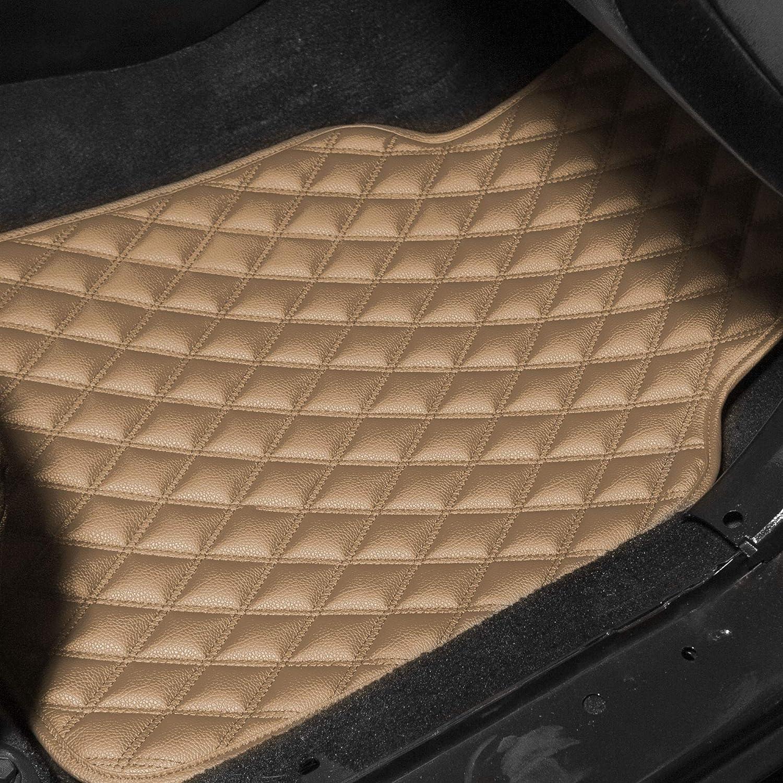 High Tech 3-D Anti-Skid//Slip Backing FH Group F12001BEIGE Luxury Universal All-Season Heavy-Duty Faux Leather Car Floor Mats Stripe Design w