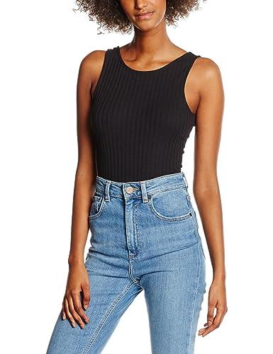 New Look Ribbed Body, Tank Top para Mujer, Negro, 42