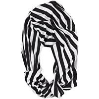 Nursing Cover - Breastfeeding Cover, Infinity Scarf, Baby Car Seat Canopy, Shopping Cart, Stroller, Infant Seat Covers for Girls and Boys, Unisex Multi-Use Blanket, Black and White Stripes