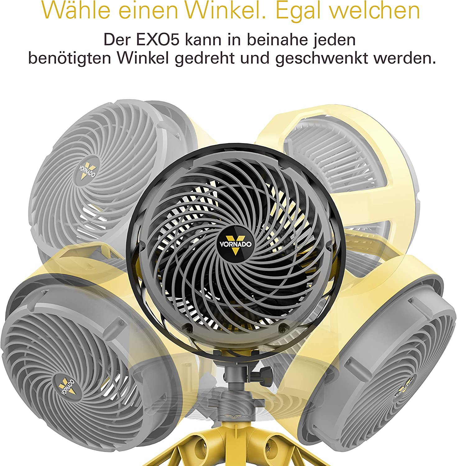 Vornado Heavy Duty EXO5 Ventilador de pie 37.2W Gelb, Gris: Amazon ...