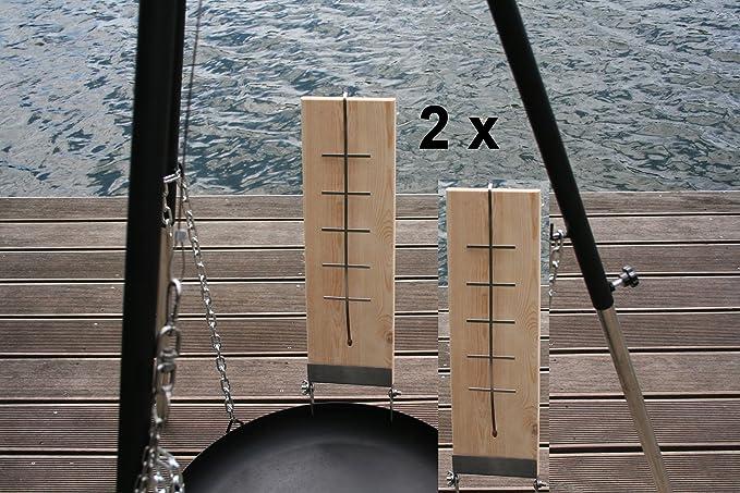 2 unidades de 50 cm salmón de llamas Tabla con acero inoxidable plana salmón Tabla de llamas de llamas para brasero salmón Tabla Madera Tabla: Amazon.es: Jardín