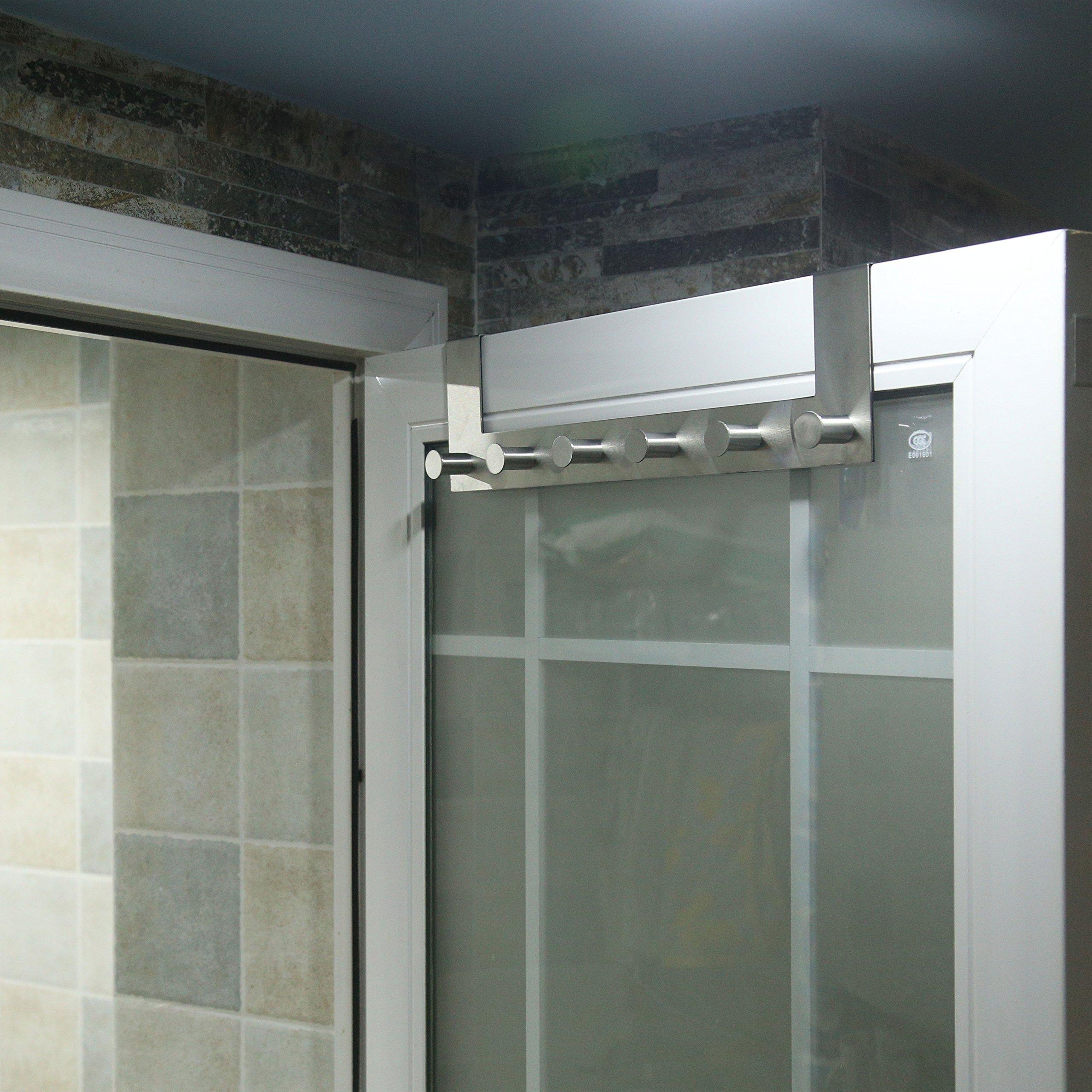 WEBI Over-The-Door Hooks : Modern, Heavy Duty, Anti-Rust, Clou Door Hanger,6 Coat Hook Pegs, Towel Holder, Utility for Coats, Towel, Hats, Bags, Scarves, Purse (6 Pegs, Stainless Steel,Satin,2 Packs) by WEBI (Image #7)