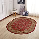 "Ottomanson Ottohome Collection Traditional Persian Oriental Floral Design Non-Slip Area Rug, 5' X 6'6"" Oval, Red"