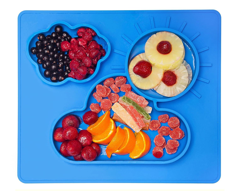 Plato de Bebé con Mantel Individual de Silicona - Vajilla Bandeja Antideslizante con Compartimientos - Ventosa de Succión Segura para Alimentos de Niños Kenley