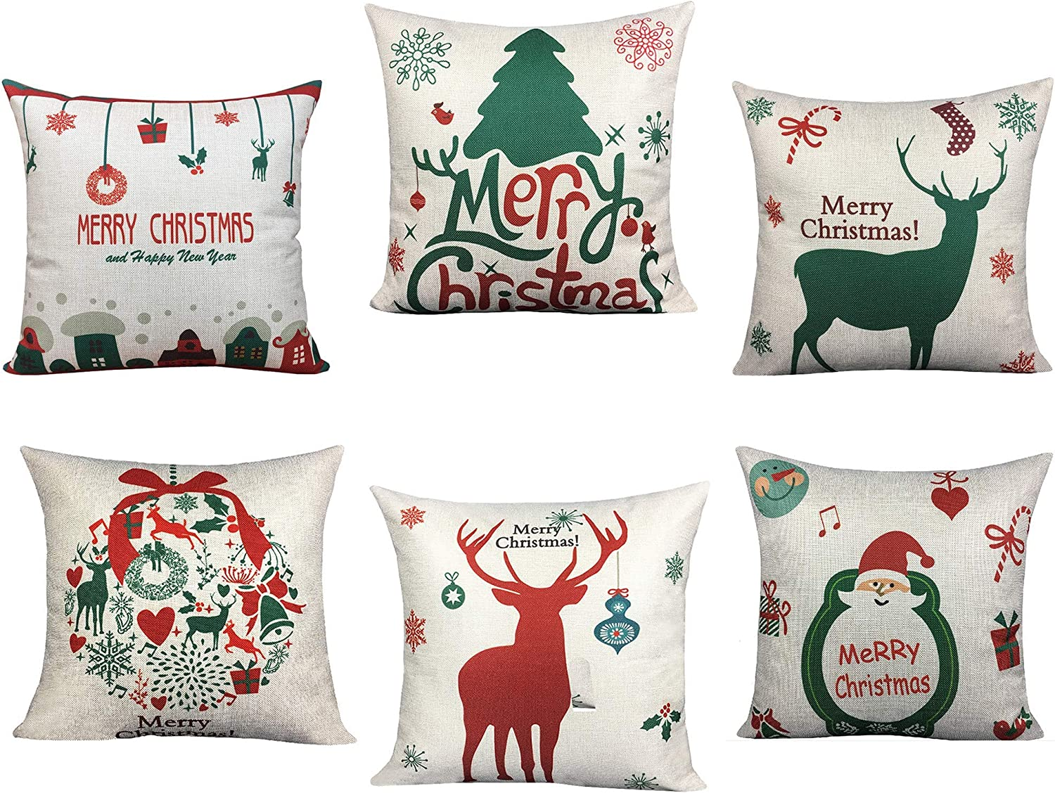 BLUETTEK 6 Packs Christmas Pillows Covers, Printed Santa Claus, Christmas  Tree, Deer, 18 X 18 Inch Christmas Decor Pillow Cases Cushion Covers for  Bed ...