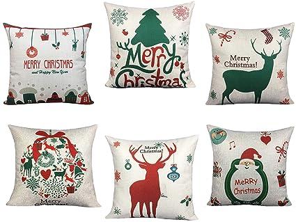 835aec8831 BLUETTEK 6 Packs Christmas Pillows Covers, Printed Santa Claus, Christmas  Tree, Deer,