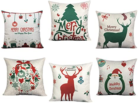 BLUETTEK 6 Packs Christmas Pillows Covers, Printed Santa Claus, Christmas Tree, Deer, 18 X 18 Inch Christmas Decor Pillow Cases Cushion Covers for Bed & Sofa