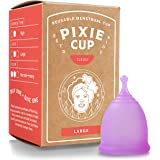 Pixie Menstrual Cup - Most Comfortable Authentic Silicone Period Cup and Best Removal Stem - Tampon and Pad Organic Alternati