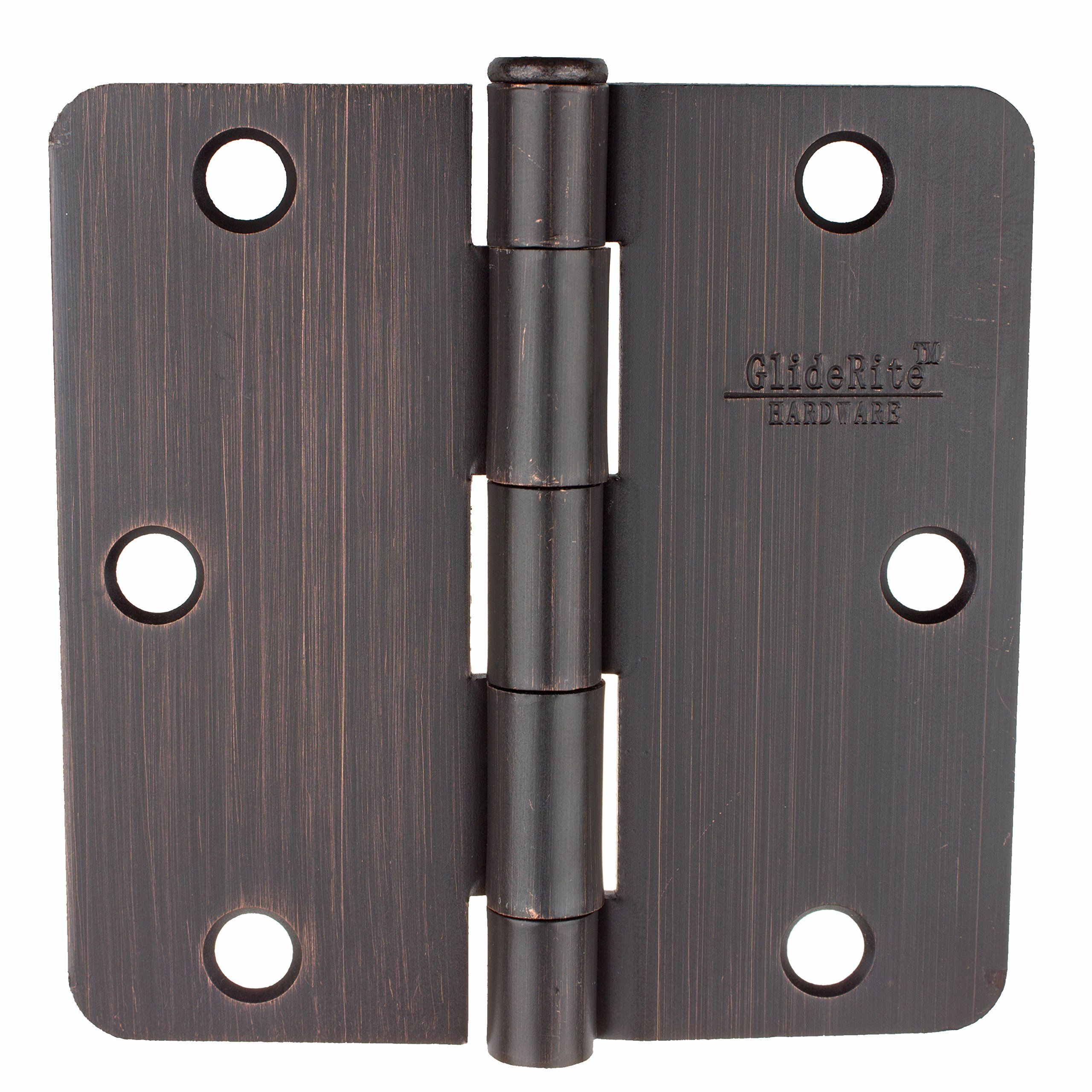 GlideRite Hardware 3514-ORB-100 3.5 inch steel Door Hinges 0.25 inch Radius Oil Rubbed Bronze Finish 100 Pack by GlideRite Hardware