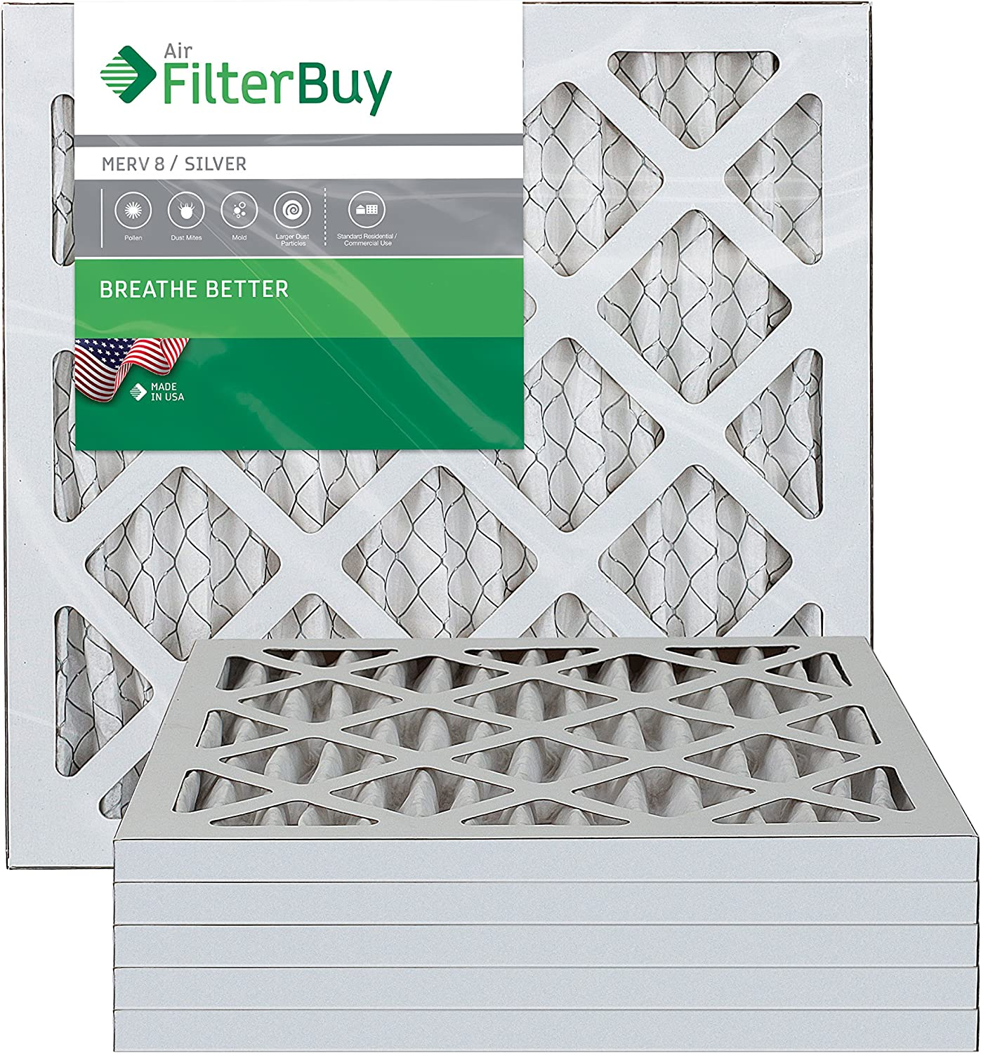 FilterBuy 12x12x1 MERV 8 Pleated AC Furnace Air Filter, (Pack of 6 Filters), 12x12x1 – Silver