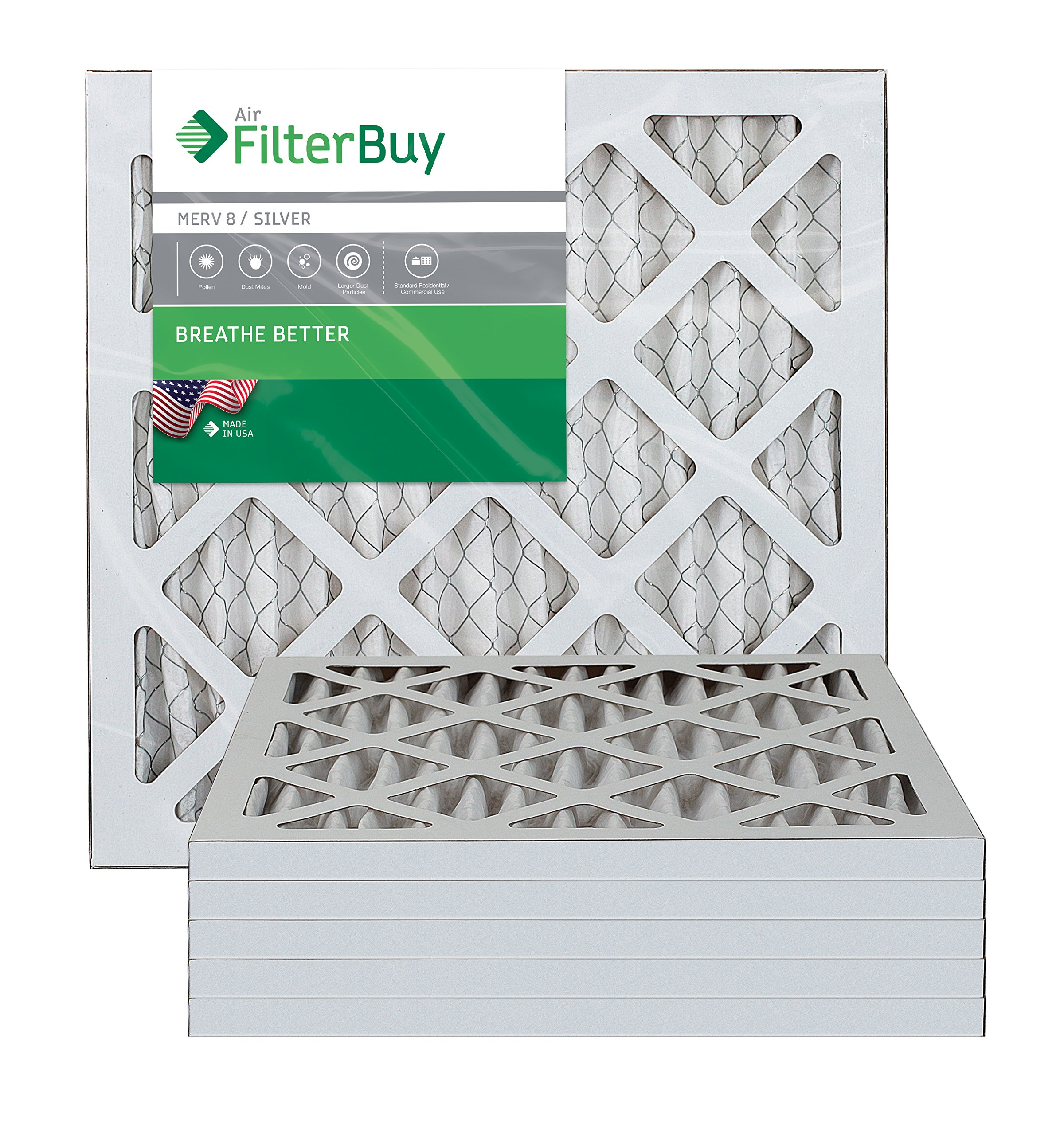 FilterBuy 12x12x1 MERV 8 Pleated AC Furnace Air Filter, (Pack of 6 Filters), 12x12x1 - Silver by FilterBuy