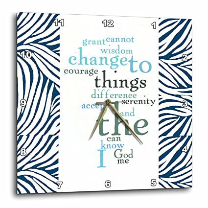 3drose Dpp635693 Serenity Prayer Word Art Zebra Print Wall Clock 15 By 15 Inch