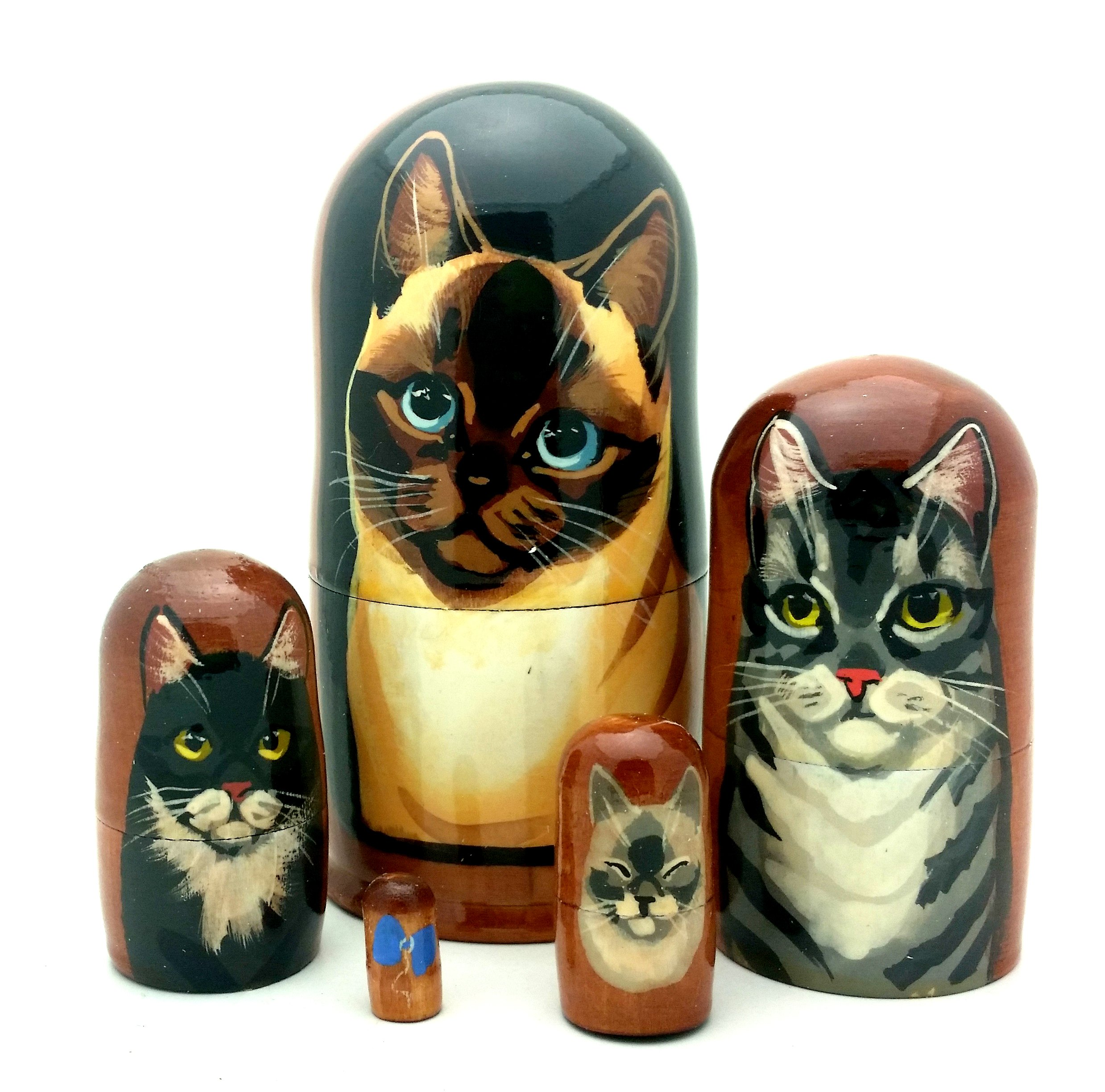 Cat nesting dolls Russian Hand made 5 piece matryoshka Set by BuyRussianGifts