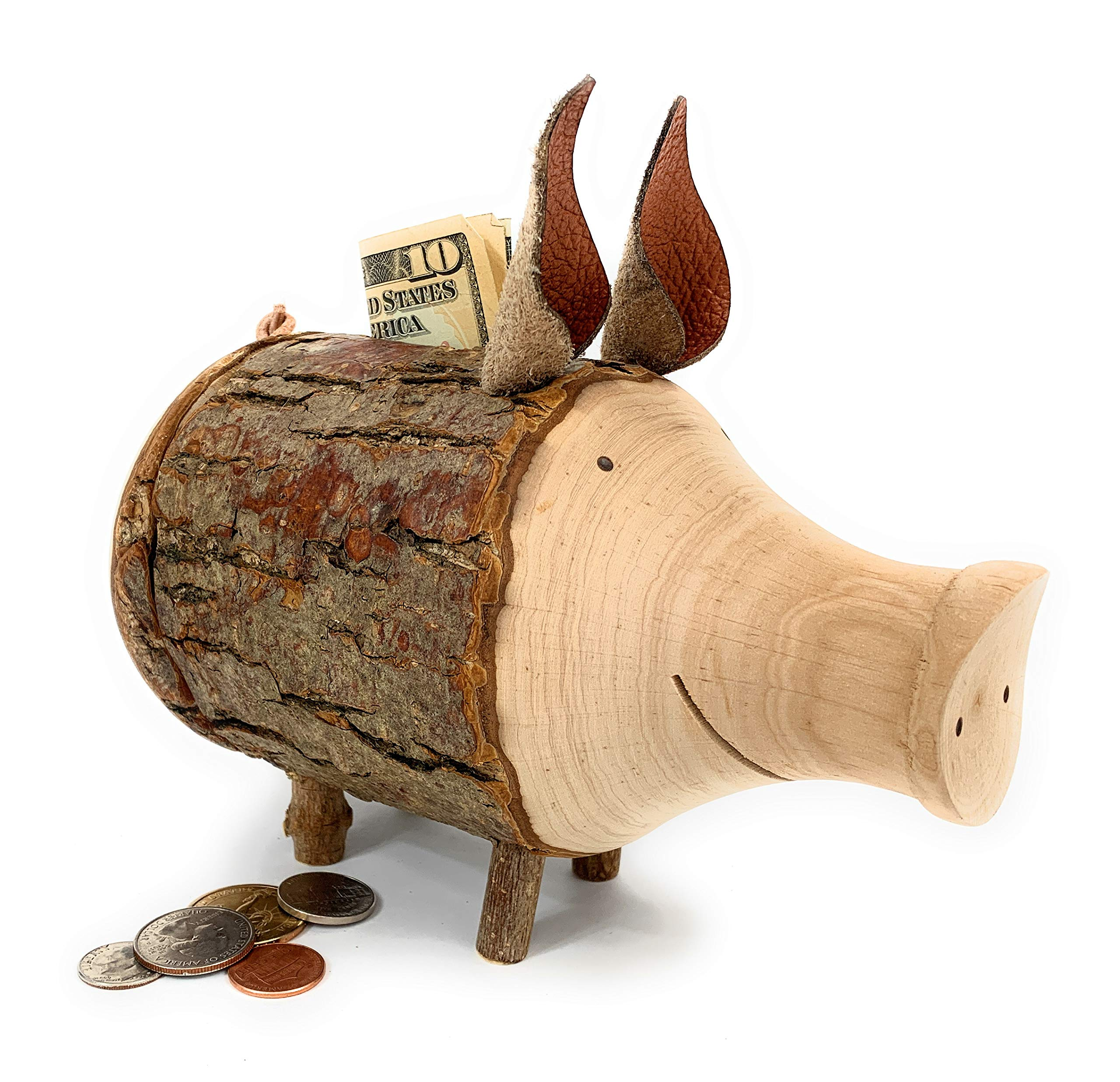 Forest Decor Cute Kid's Piggy Bank for Boys and Girls, Handmade Wood Craftsmanship, Cute Unfinished Bark, Stores Cash and Coins, Made in Germany