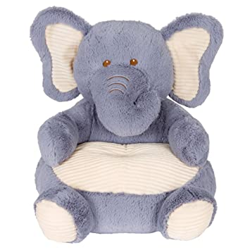 Soft Plush Grey Elephant Childrens Chair With Corduroy Trim18 .