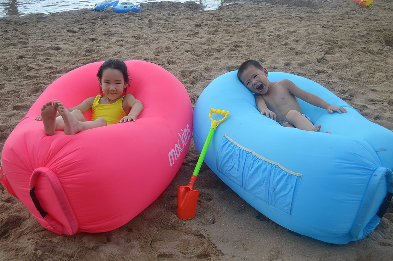 Mockins Kids Blue Inflatable Lounger Hangout Sofa Bed with Travel Bag Pouch The Portable Inflatable Couch Air Lounger is Perfect for Music Festivals and Camping Accessories Inflatable Hammock /… /… /…