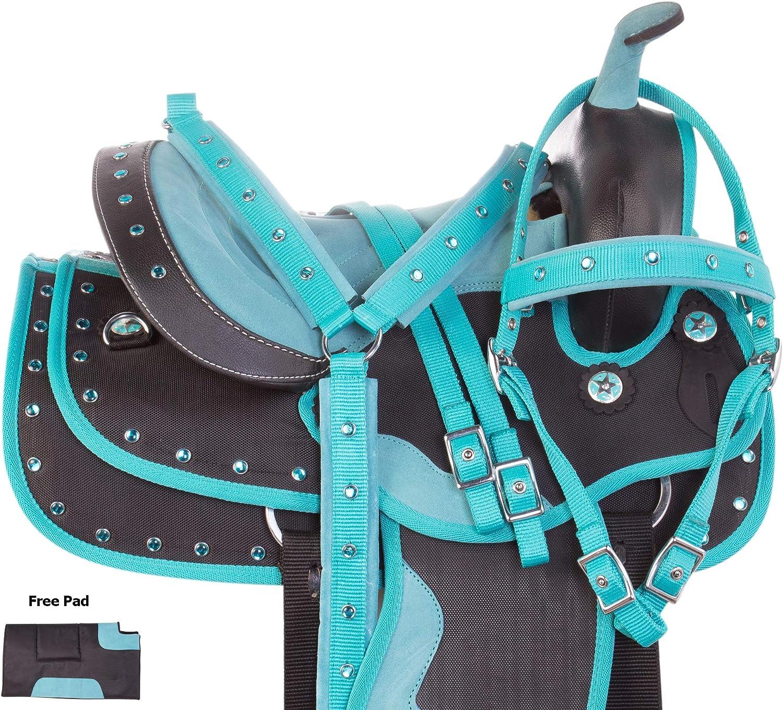 AceRugs ターコイズクリスタルショーユースキッズサイズ ウェスタンホースポニーサドルタックセット バレルトレイルブライドルレイン 胸襟 ターコイズ