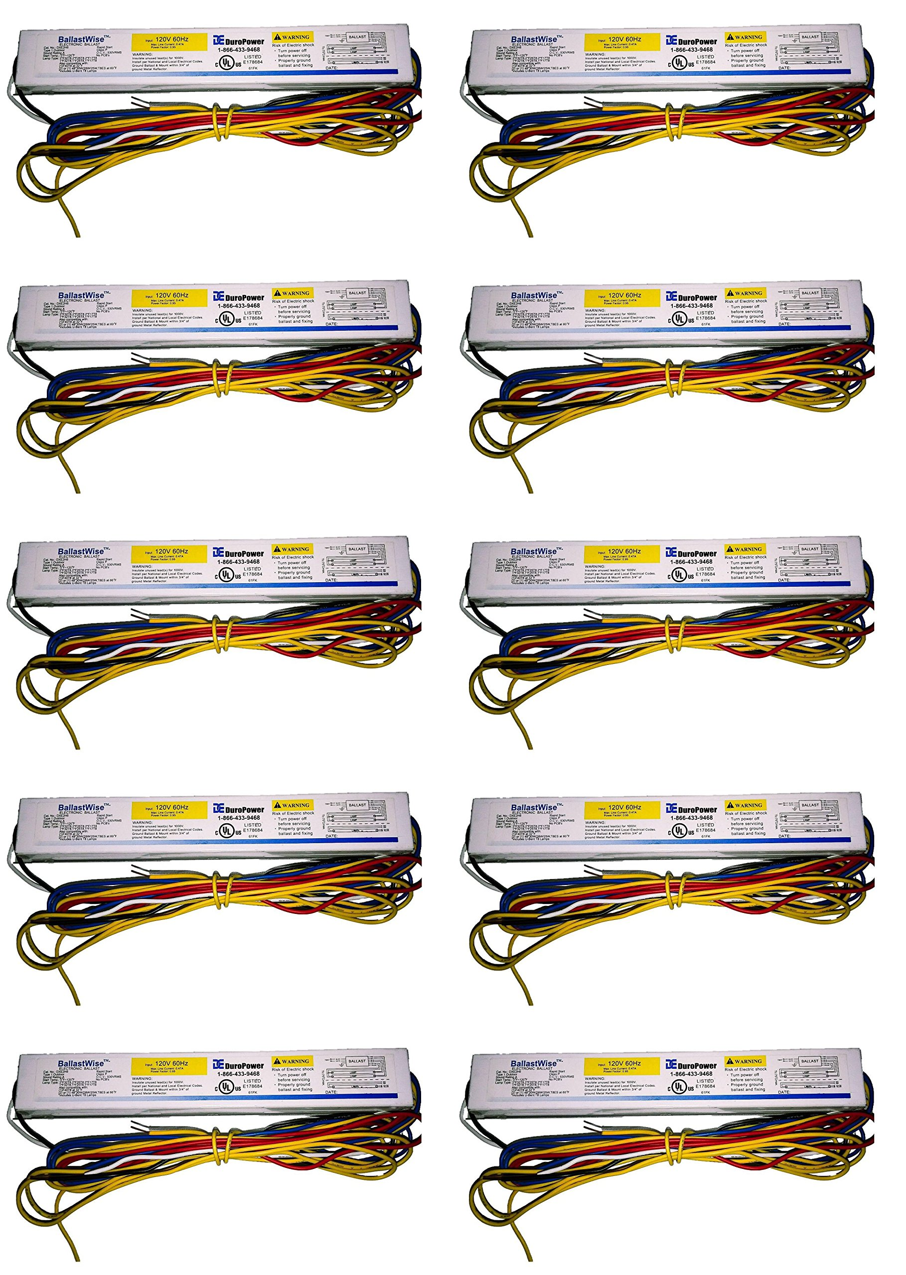 10 BallastWise DXE2H8 T8 Ballasts with wires 58W for (2) F32T8 F25T8 F17T8 (1) F40T12 Bulbs 120V