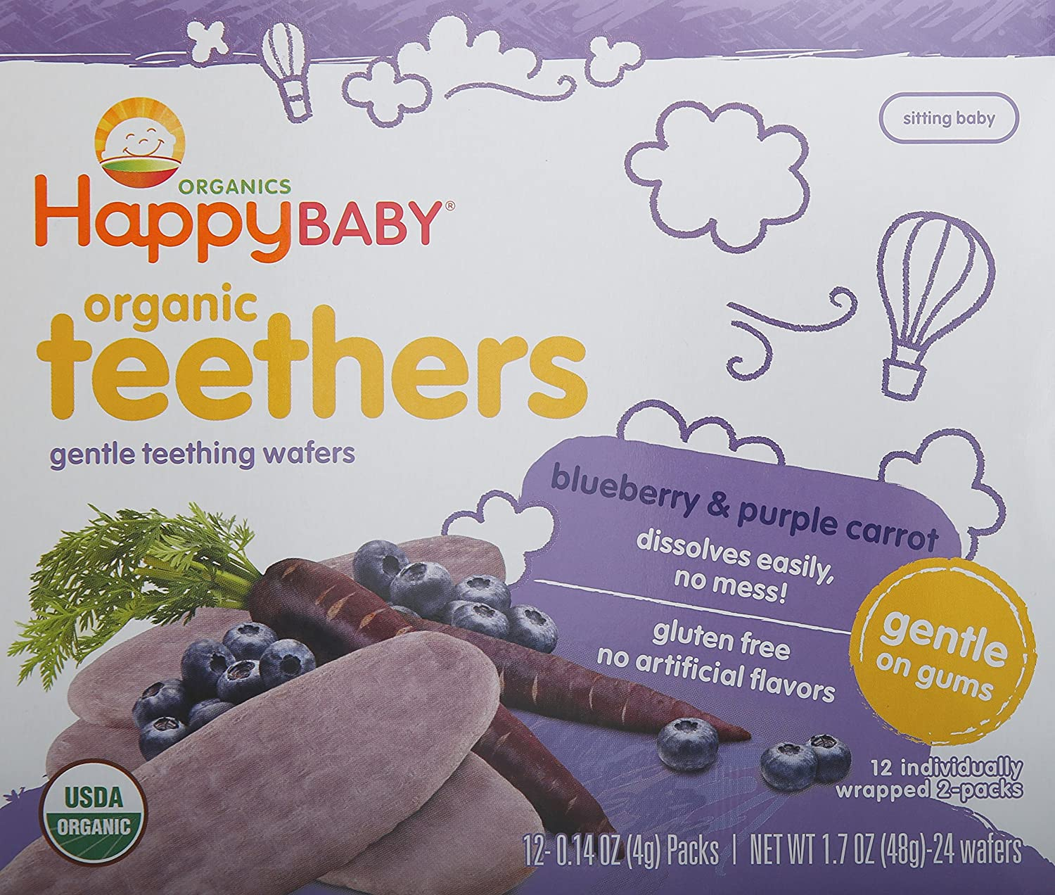 Happy Baby Gentle Teethers Organic Teething Wafers Banana Sweet Potato, 12 Count Box(Pack of 6) Soothing Rice Cookies for Teething Babies Dissolves Easily Organic Gluten Free No Artificial Flavor 01175