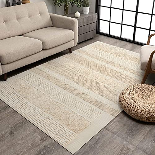 MOTINI Tufted Cotton Area Rug 5' x 7'