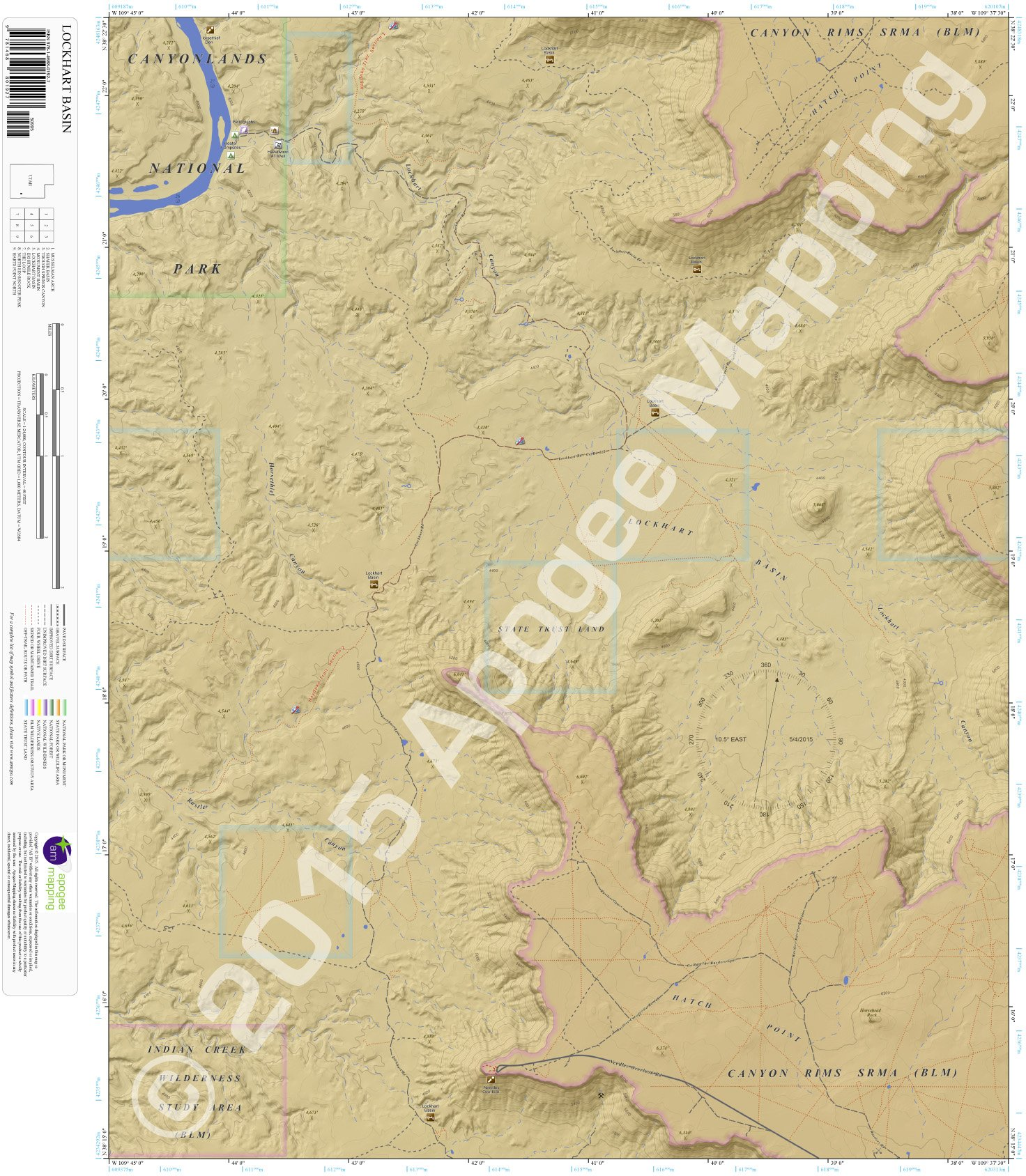Lockhart Basin, Utah 7.5 Minute Topographic Map - Waterproof Paper pdf