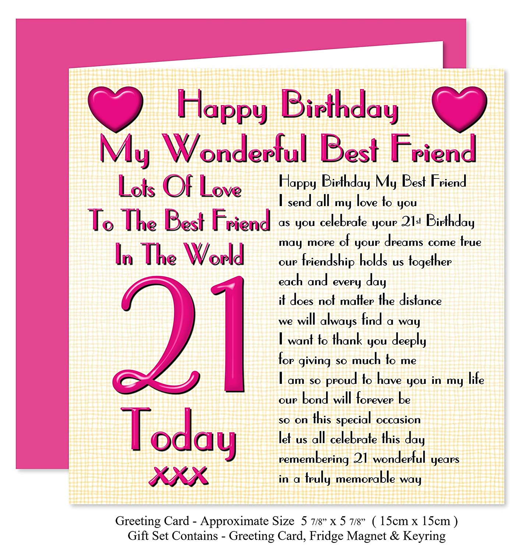 Best Friend 21st Happy Birthday Gift Set Card Keyring Fridge