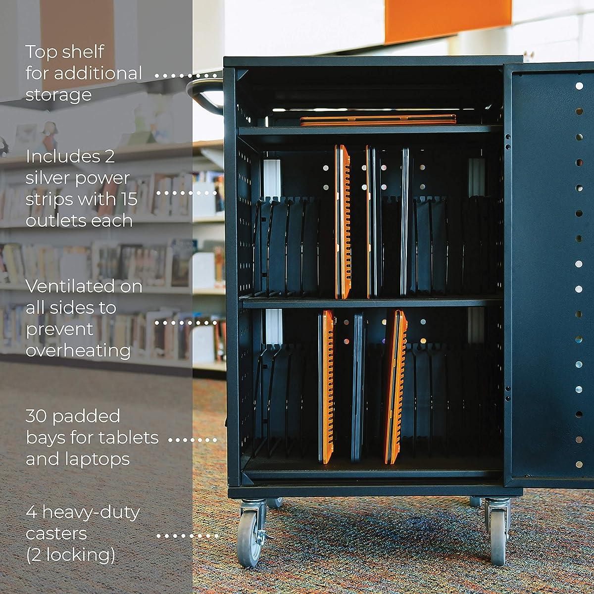 ECR4Kids 30 Bay Locking Laptop/Tablet Charging Station Cart with Keypad Entry, Black
