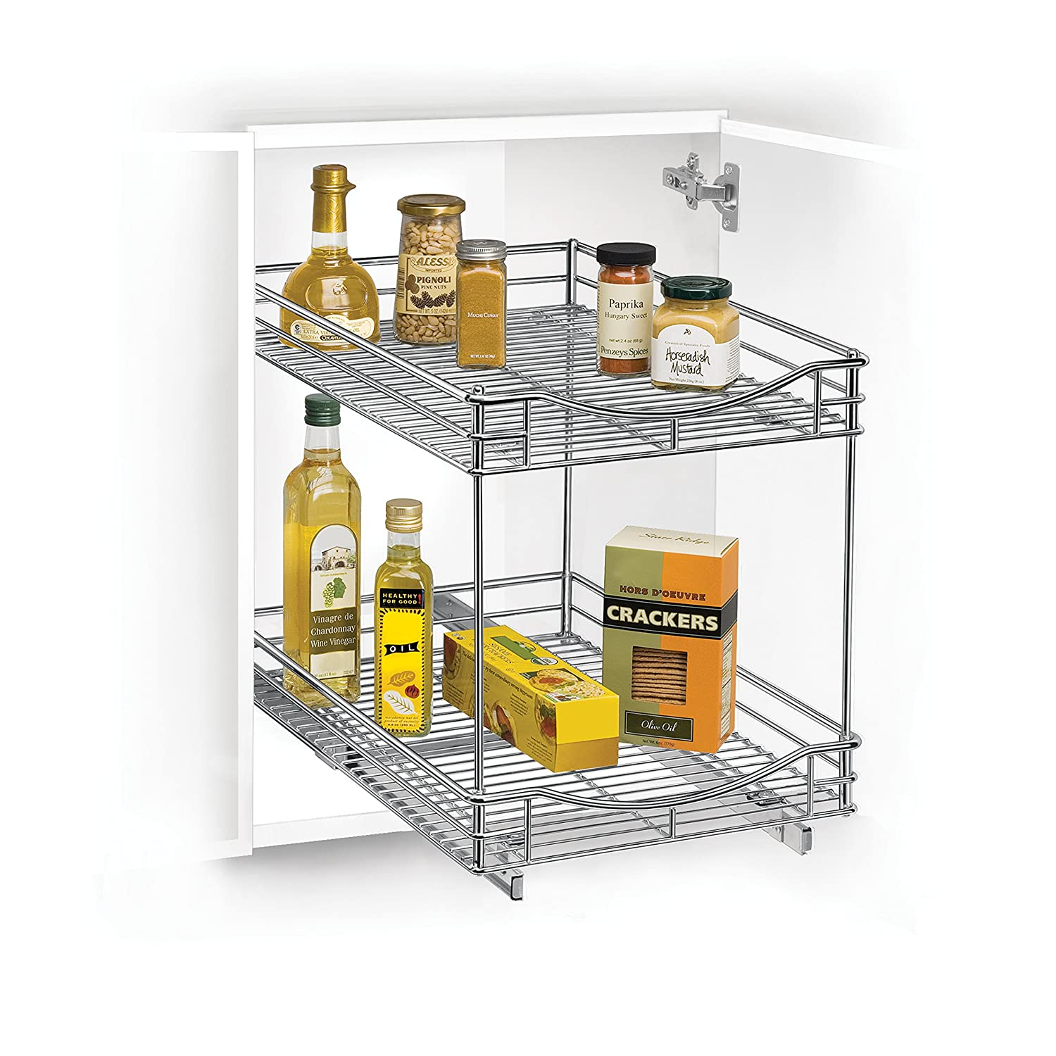 Lynk Roll Out Cabinet Organizer: Lynk Roll Out Two Tier Sliding Under Cabinet Organizer