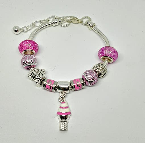 cee7d1f3f Image Unavailable. Image not available for. Color: Ice Cream Fuchsia Pink  Charm Beads Silver Plated European Bracelet