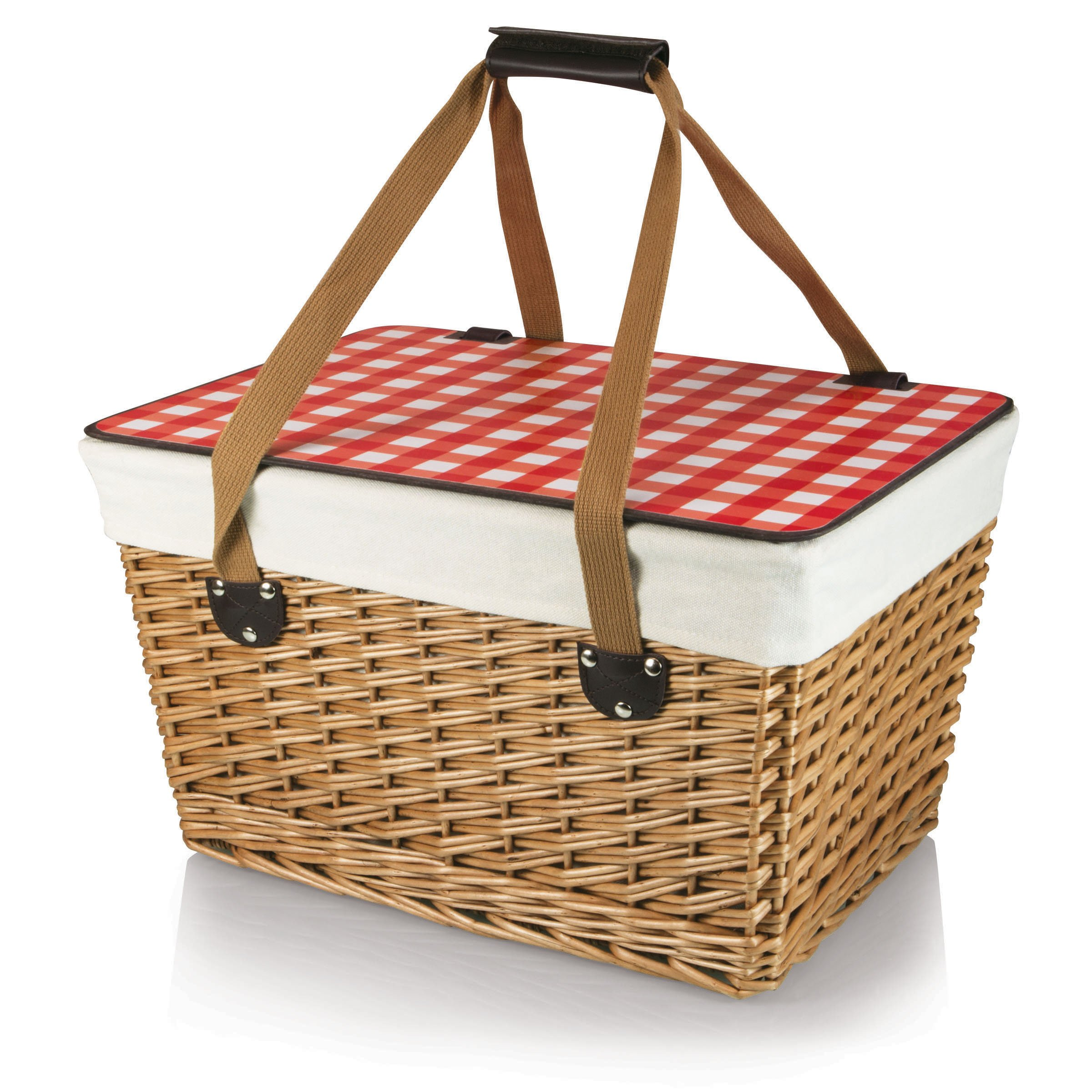 Picnic Time Canasta Basket with Red Check Lid